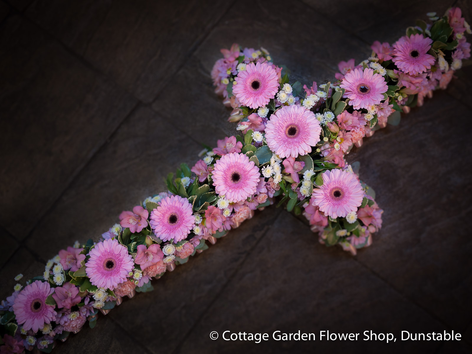 Open pink cross the cottage garden flower shop dunstables homefuneral flowers open pink cross izmirmasajfo