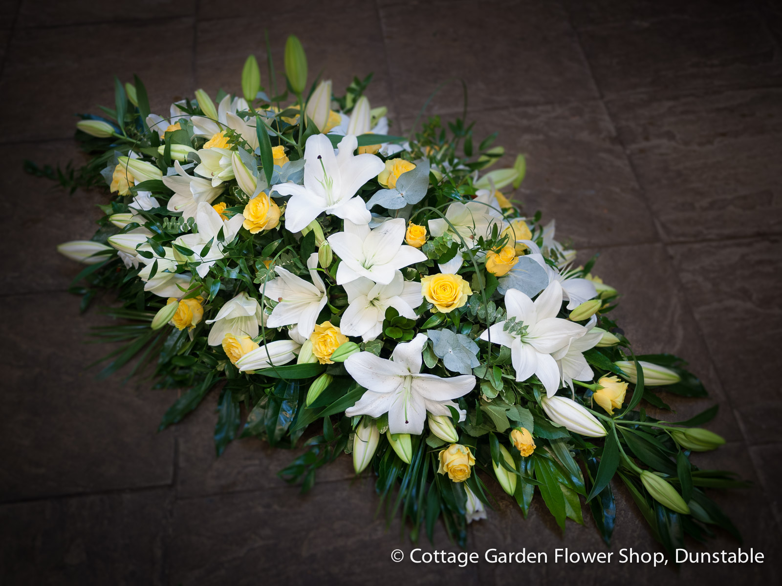 Rose Lily Casket Spray The Cottage Garden Flower Shop