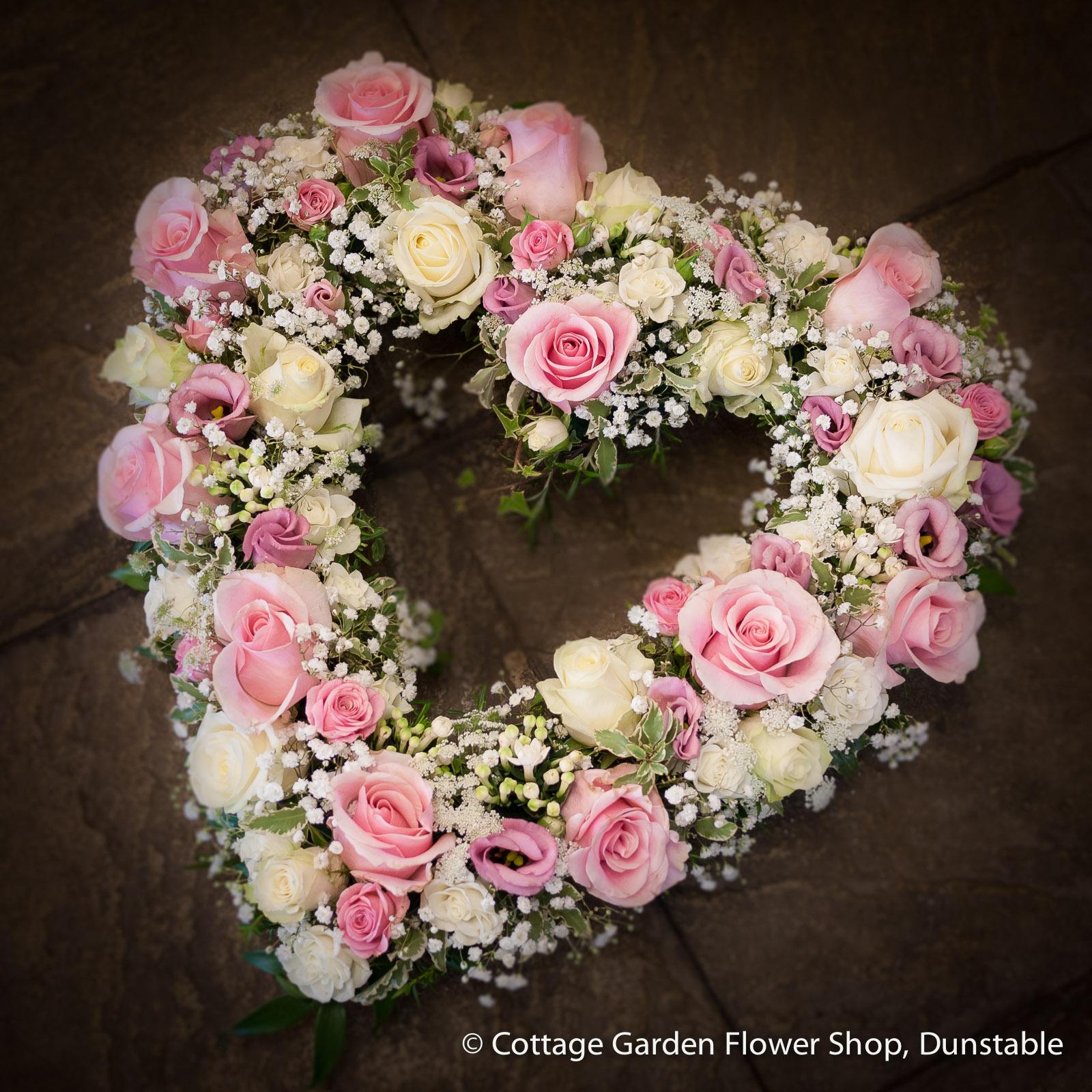 Pink cream rose heart the cottage garden flower shop pink cream rose heart mightylinksfo
