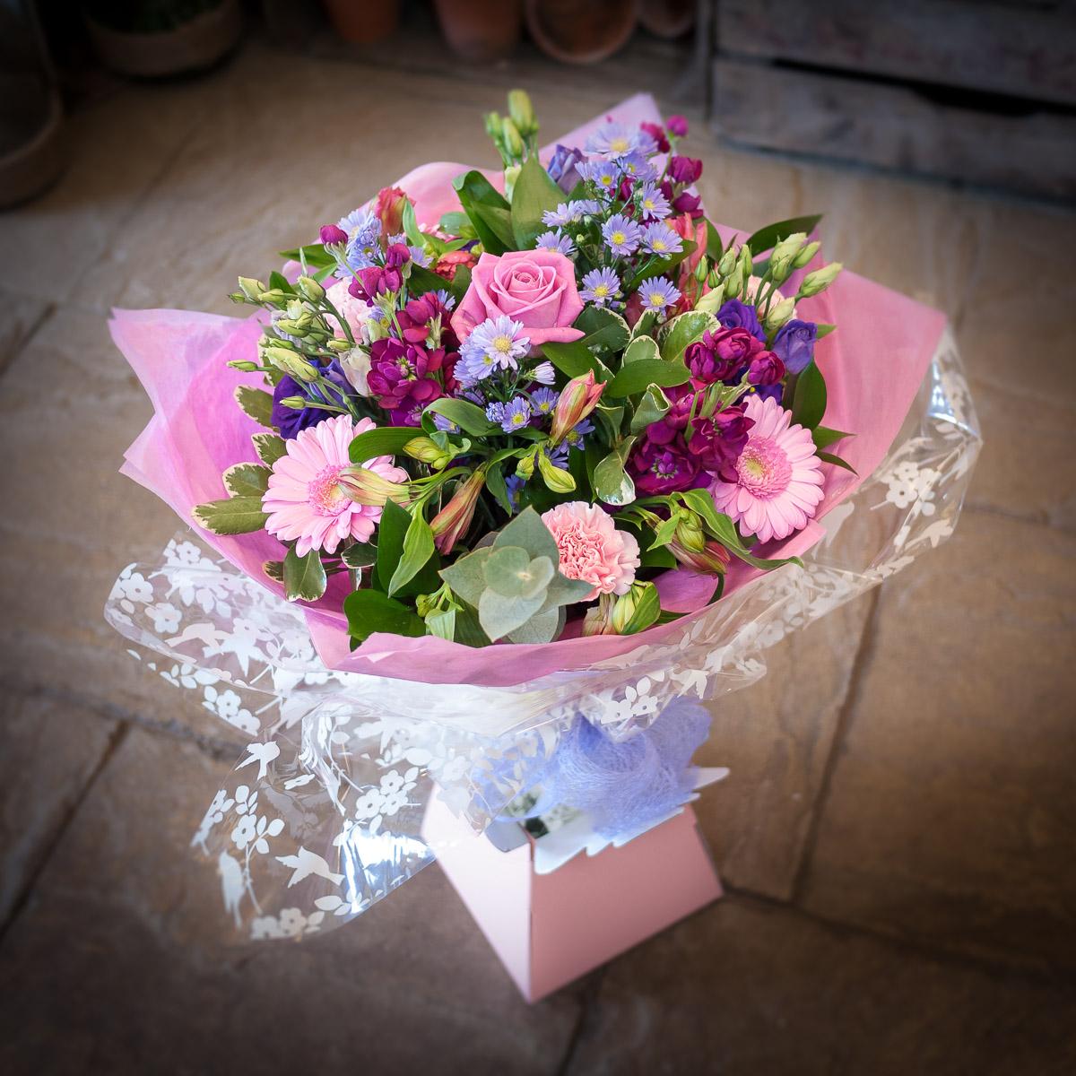 Pink Mauve Blue Hand Tied The Cottage Garden Flower Shop
