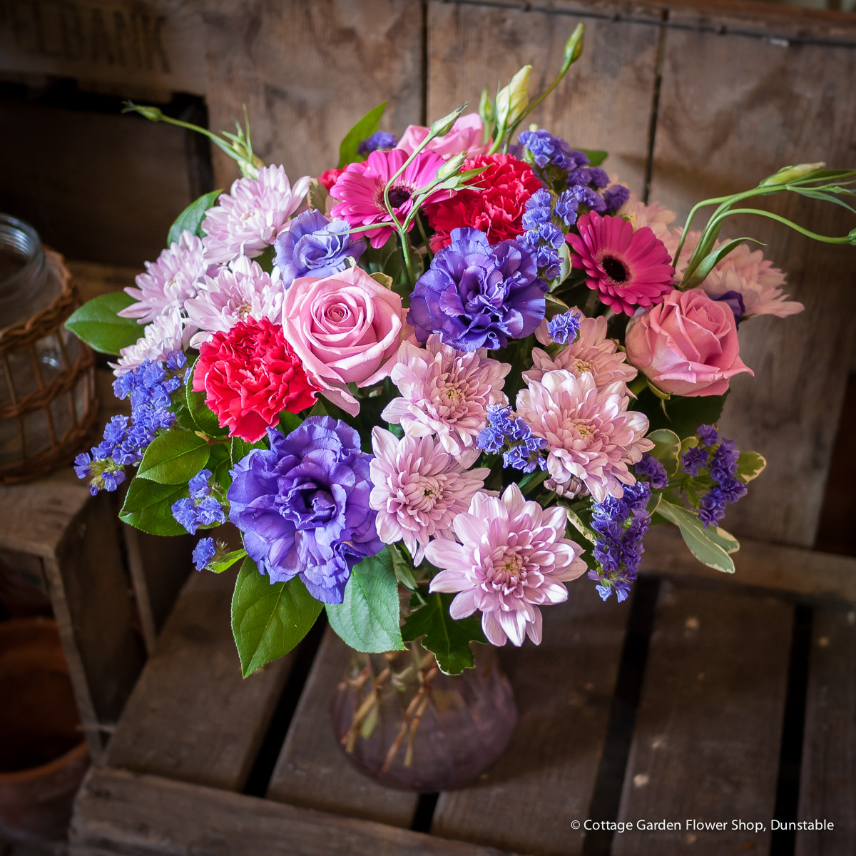 Pinks Purple Vase The Cottage Garden Flower Shop Dunstables